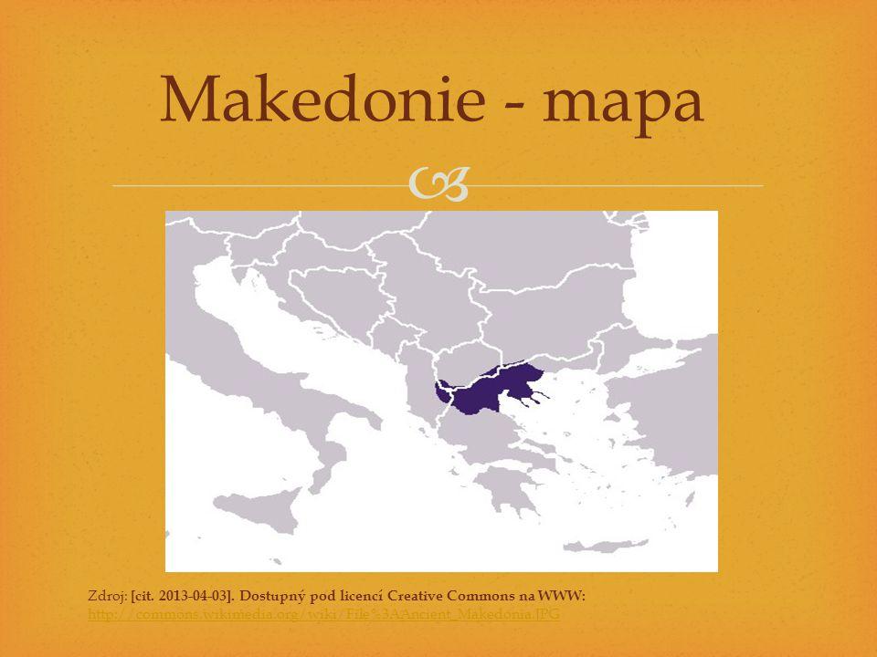 Makedonie - mapa Zdroj: [cit. 2013-04-03]. Dostupný pod licencí Creative Commons na WWW: